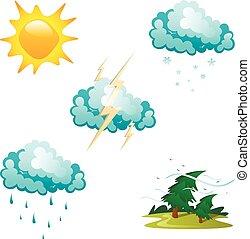 다른, 날씨, 세트, 아이콘