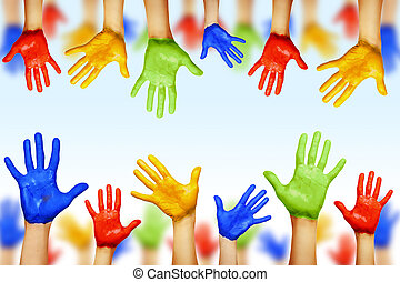 다른, 다양성, 소수 민족의 사람, 교양적인, colors., 손