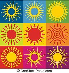다른, 세트, illustration., 태양, icons., 벡터