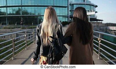 다리, 걷기, 쇼핑하고 있는 여성, 보행자