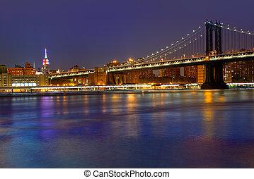 다리, 미국, ny, 일몰, 요크, 새로운, nyc, 맨해튼