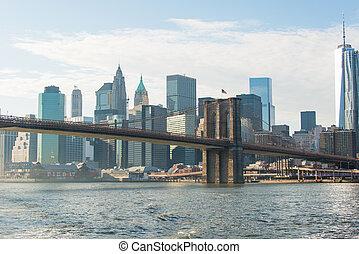 다리, 부루클린, 멋진, 밝은, 부분, 일