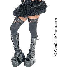 다리, 의, 여자, 에서, 길게, 검정, boots.