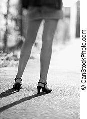 다리, 의, woman.