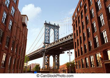다리, ny, 부루클린, 요크, 새로운, nyc, 맨해튼