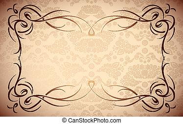 다마스크 천, 구조, -, seamless, 직물, 우아한, 벡터, 꽃 국경, |