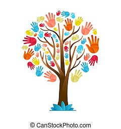 다양성, 다채로운, 나무, 손, 교양적인, 팀