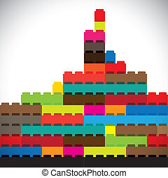 다채로운, 건물, 의, 도회지 사람, 도시 지평선, 건축되는, 와, 블록