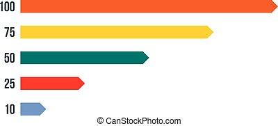 다채로운, 그래프, 막대기, 아이콘, 바람 빠진 타이어, 스타일