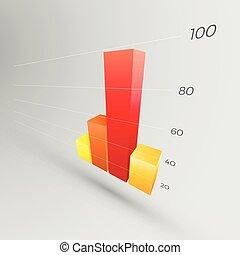 다채로운, 그래프, 3차원, 아이콘