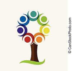 다채로운, 나무, 벡터, 로고
