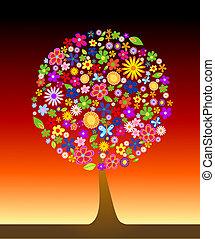 다채로운, 나무, 와, 꽃