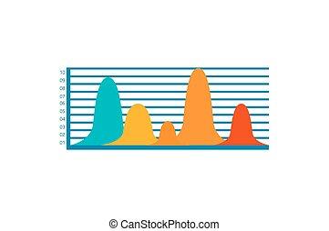 다채로운, 막대 그래프, 아이콘, 벡터, 삽화