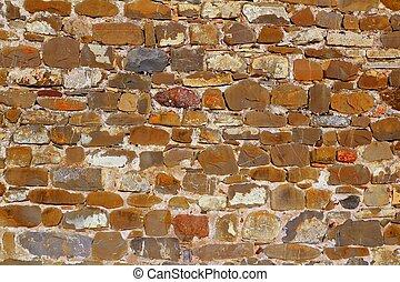 다채로운, 벽돌공, 벽, 돌, 해석