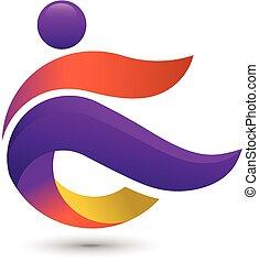 다채로운, 사람, 로고, 마차로 나르다, 적당, 로고, 개념