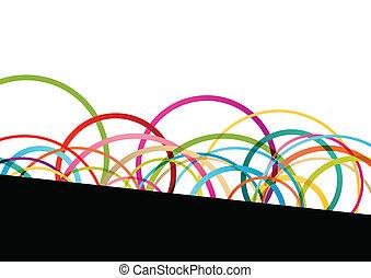 다채로운, 색, 떼어내다, 은 일렬로 세운다, 삽화, 둥근, 벡터, 배경, 파도, 원, 타원, 모자이크