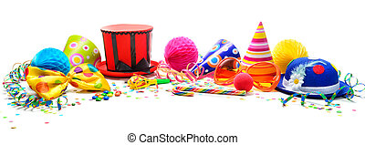 다채로운, 생일, 또는, 사육제, 배경, 와, 파티, 항목, 고립된, 백색 위에서