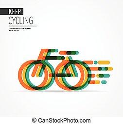 다채로운, 자전거, 아이콘, 와..., 상징