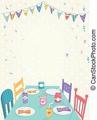 다채로운, 키드 구두, 기치, 파티