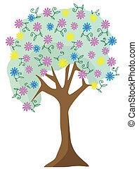 다채로운, 파스텔, 꽃, 나무, 벡터