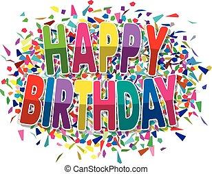 다채로운, 파편, 인사, 생일, 벡터, 배경, 행복하다