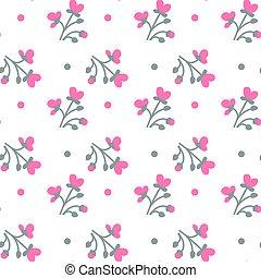 다채로운, 패턴, seamless, 배경, 하얀 꽃