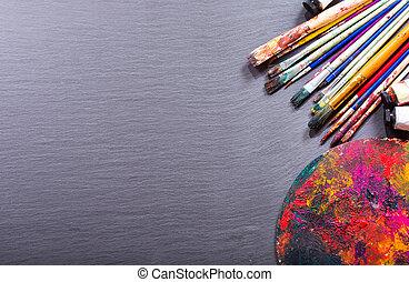 다채로운, 페인트 붓, 와..., 팔레트