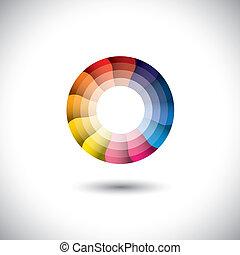 다채로운, 현대, 밝은, 벡터, 유행의, 원, 아이콘