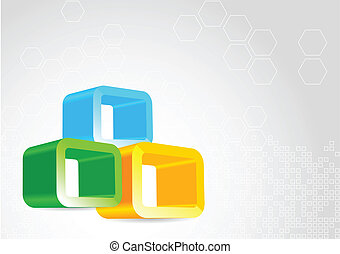 다채로운, elements., 삽화, 벡터, 배경, 3차원