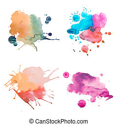 다채로운, retro, 포도 수확, 떼어내다, watercolour, /, aquarelle, 예술, 손,...