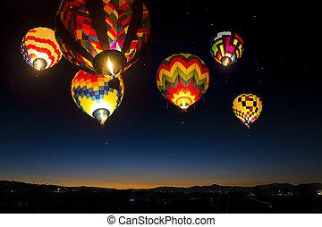 다채로운, sky., 위로의, 공기, 불을 붙이게 된다, 뜨거운, 새벽, 기구