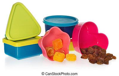 다 착색되는, 부엌, 형태, 와, 건포도, 와..., candy., 상자는 닫았다, 에서, 그만큼, 모양, 의, 심장, 별, asquare, 와..., a, circle.
