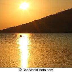단구간의, 어부, 통하고 있는, 호수, peten, itza, -, 위치한다, 에서, 북쪽, 과테말라, 공간으로 가까이, flores.