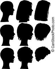 단일의, 실루엣, 사람, 초상, 머리, 얼굴, 세트