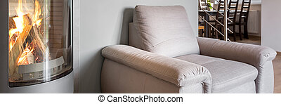 단일의, 안락 의자, 의 옆에, 벽난로