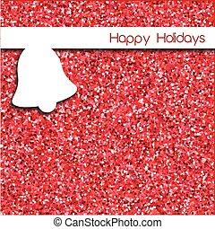 단일의, 크리스마스 카드, 디자인, 와, 종, 위의, 빨강, 반짝임, 배경