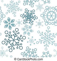 단일의, 패턴, 눈송이, 크리스마스, seamless