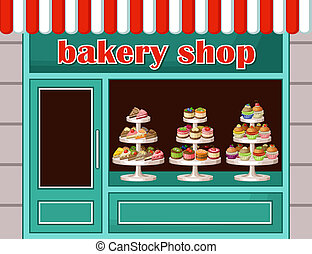 단 것, 벡터, 상점, bakery., 삽화