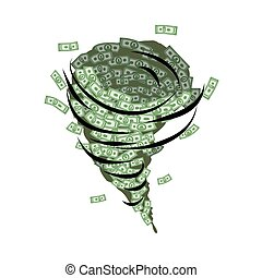 달러., 깔때기, 재정, whirlwind., 돈, tornado., 태폭풍, 싹쓸 바람,, 위로의, 은 ...