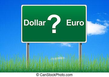 달러, 또는, 유러, 개념, 도로 표지, 통하고 있는, 하늘, 배경.