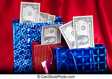 달러, 선물, 통하고 있는, 빨강 배경