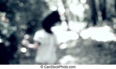달리기, 깜짝 놀란, 여자, 숲