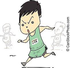 달리기, 남자, 벡터, 만화, characte