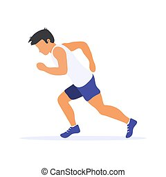달리기, 남자, silhouette., runner., 바람 빠진 타이어, 벡터, illustration., 개인, sport.