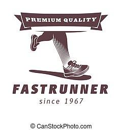 달리기, 다리, 와, 스포츠, 구두, 로고, design., 축구, ot, 훈련, 벡터, 삽화, 와, lines., fast, 주자, 와, 리본, 프리미엄, 질