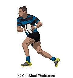 달리기, 럭비 선수, 와, 공, 에서, 그의 것, 손, 벡터, 삽화