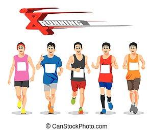 달리기, 사람, 벡터, 개념