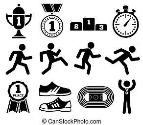 달리기, 스포츠, 옥외, 조깅, 사람, 마라톤, 인종, 벡터, 아이콘