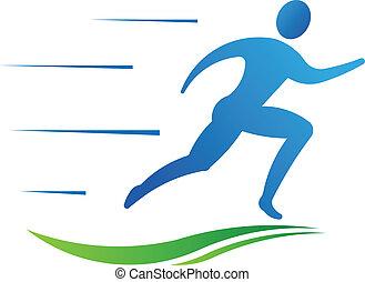 달리기, 스포츠, fast., 남자, 적당