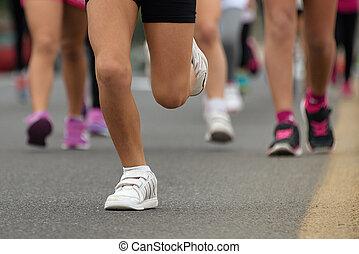 달리기, 아이들, 나이 적은 편의, 운동선수, 달리다